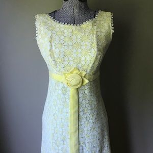 Vtg 60s S lace maxi dress yellow boho
